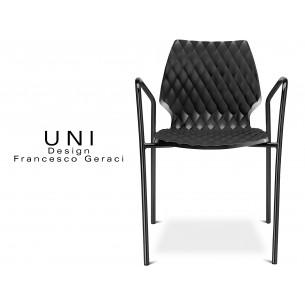 UNI fauteuil design piétement peinture noire assise coque couleur noire.