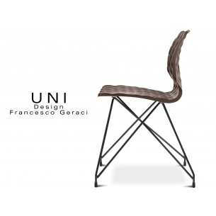 UNI chaise design piétement fantaisie noir assise coque couleur moka.