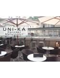UNI-KA chaise piétement blanche assise coque couleur