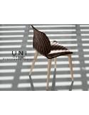 UNI chaise design couleur moka, piétement bois Hêtre naturel