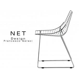 NET chaise structure filaire en métal chromé.