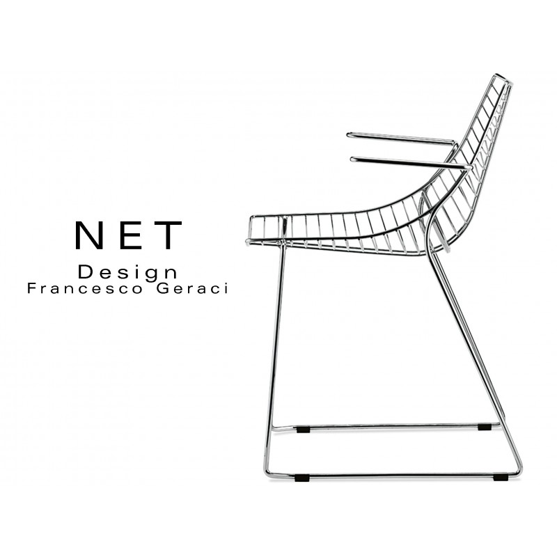 NET fauteui designe structure filaire en métal chromé piétement luge