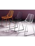 NET fauteui design structure filaire en métal finition peinture polyester couleur noire, piétement luge