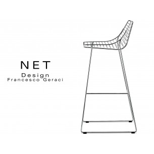 NET tabouret design structure filaire en métal chromé piétement luge