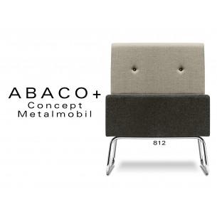 ABACO+ 812 - Module pour banquette ou fauteuil assise noir, dos beige, bouton noir.