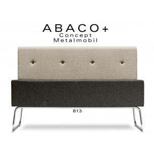 ABACO+ 813 - Module pour banquette assise noir, dossier beige, boutons noir.