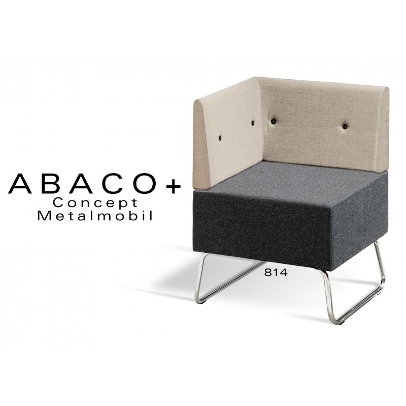 ABACO+ 814 - Module pour banquette ou fauteuil d'angle assise noir, dossier beige, bouton noir.