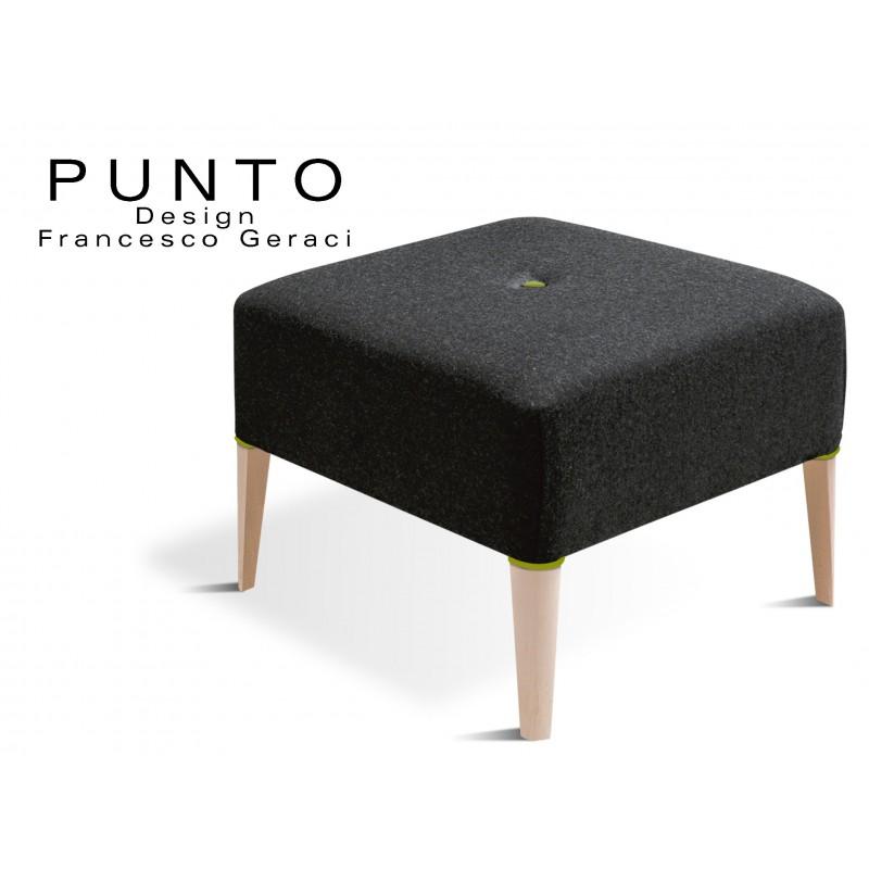 PUNTO 229 - Module pour banquette ou tabouret carré, couleur assise noir, bouton et déco piétement vert.