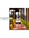 PUNTO 229 - Module pour banquette ou tabouret carré, exemple de réalisation, salle de restauration, habillage aspect cuir.