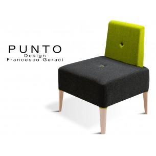 PUNTO 227 - Module pour banquette ou fauteuil, assise noir, piétement Érable, dossier vert.