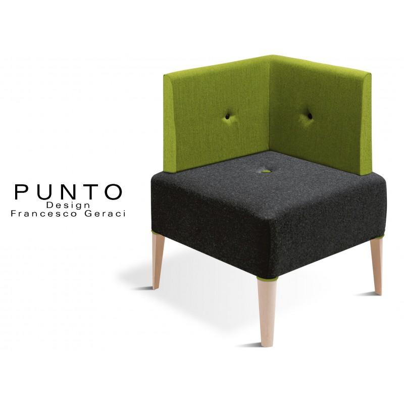 PUNTO 228 - Module pour banquette ou fauteuil d'angle, piétement Érable, assise noir, dossier et fantaisie piétement vert.