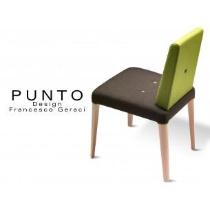 PUNTO 190 - Chaise en bois massif teinté Érable, assise noire, dossier vert revêtement tissu laine.