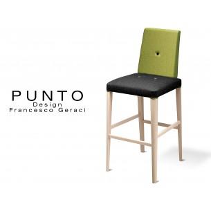 PUNTO 390 - Tabouret en bois massif finition Érable, revêtement 2 tons laine, assise noir, dossier vert.