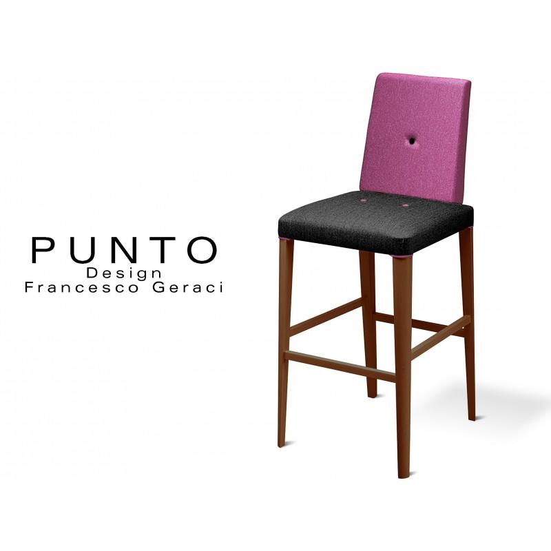 PUNTO 390 - Tabouret en bois massif finition teinté Wengé, revêtement 2 tons laine, assise noir, dossier violet.