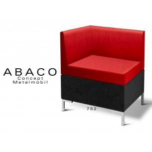 ABACO 752 - Module pour banquette ou fauteuil d'angle assise et dossier rouge.