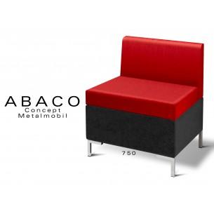 ABACO 750 - Module pour banquette ou fauteuil, assise et dossier rouge.