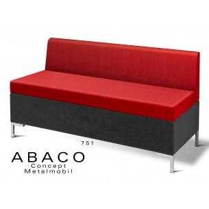 ABACO 751 - Module ou simple banquette, assise et dossier rouge brique.