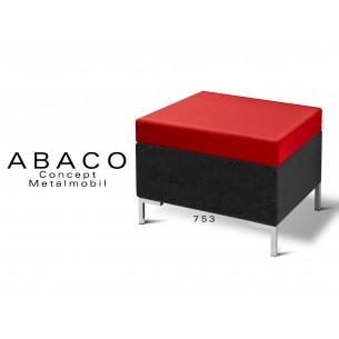 ABACO 753 - Tabouret d'appoint ou module de banquette coussin d'assise rouge