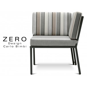 ZERO - Banquette ou module d'angle pour extérieur, piétement noir, coussin rayures soft.