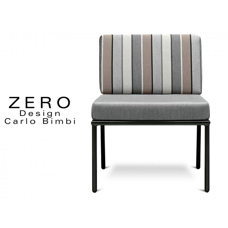 ZERO - Banquette ou fauteuil pour extérieur, piétement noir RAL-9005, coussin avec rayures soft.
