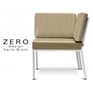 ZERO - Banquette ou module d'angle pour extérieur, piétement blanc, coussin et assise beige.