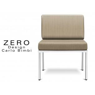 ZERO - Banquette ou fauteuil pour extérieur, piétement blanc, coussin et dossier beige.