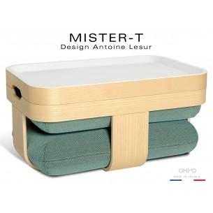 MISTER-T tabouret, table d'appoint, repose-pieds, plateau. Tissu Steelcut de chez KVADRAT de couleur bleue.