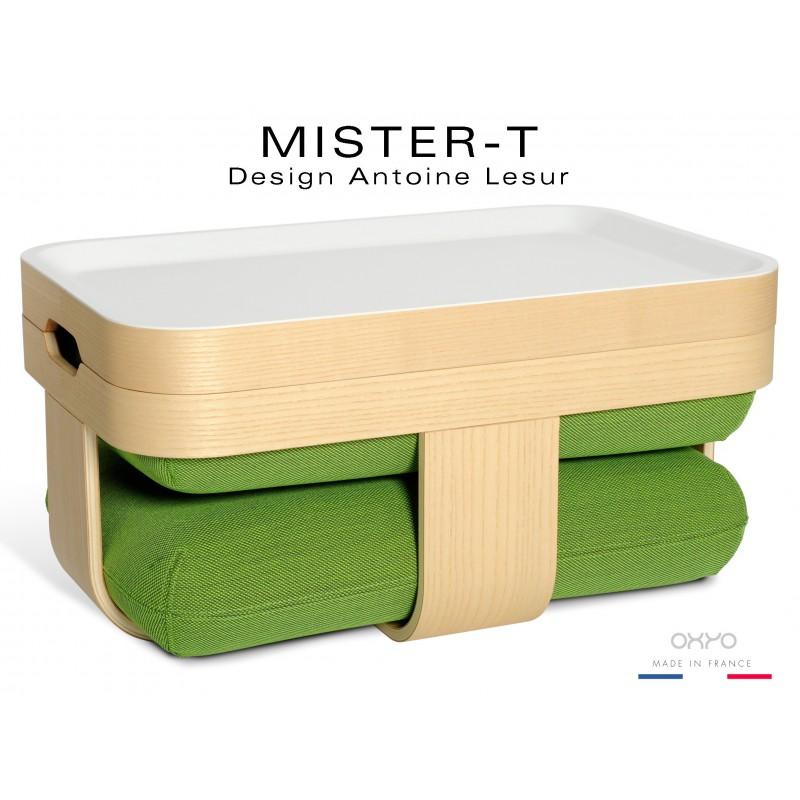 MISTER-T tabouret, table d'appoint, repose-pieds, plateau. Tissu Steelcut de chez KVADRAT de couleur verte.