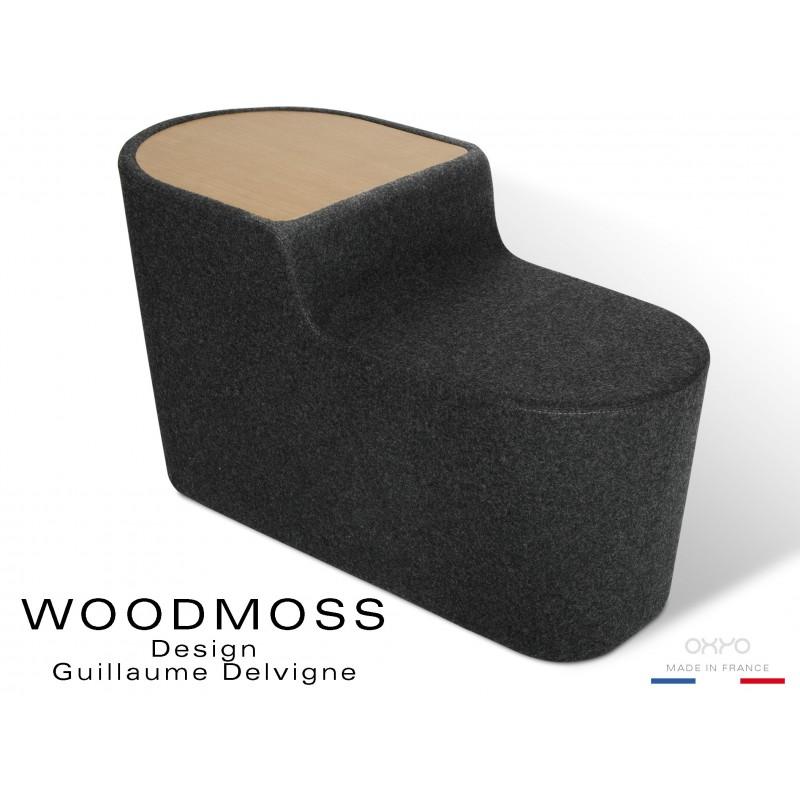 WOODMOSS-DOUBLE tabouret ou table d'appoint, couleur tissu 100% laine noire.