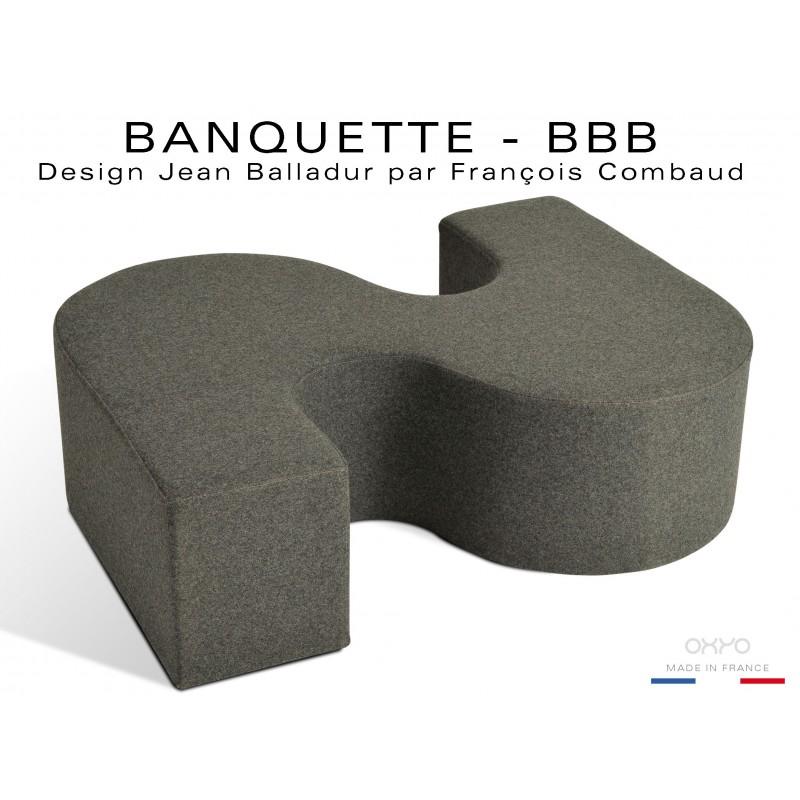 "BANQUETTE-BBB module d'assise fantaisie ou ""S"", couleur anthracite."