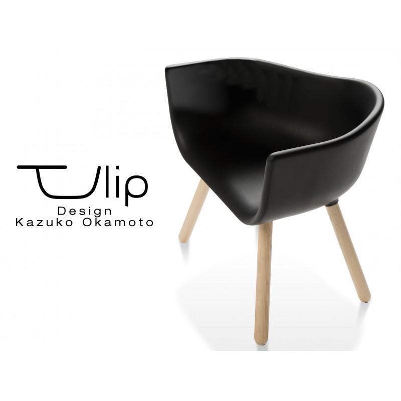 TULIPE LARGE chaise design coque piétement bois, assise couleur noire.