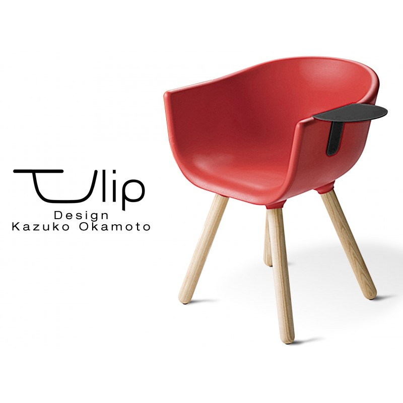 """TULIPE SMALL chaise design coque couleur rouge, effet touché """"Peached"""" piétement bois avec tablette noire"""