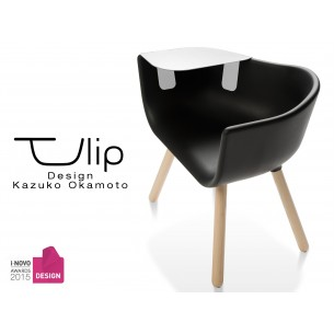 TULIPE LARGE chaise design coque piétement bois, assise couleur noire, avec table blanche.