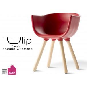 """TULIPE SMALL chaise design coque couleur rouge, effet touché """"Peached"""" piétement bois"""
