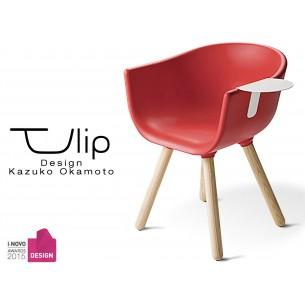 """TULIPE SMALL chaise design coque couleur rouge, effet touché """"Peached"""" piétement bois avec tablette blanche"""