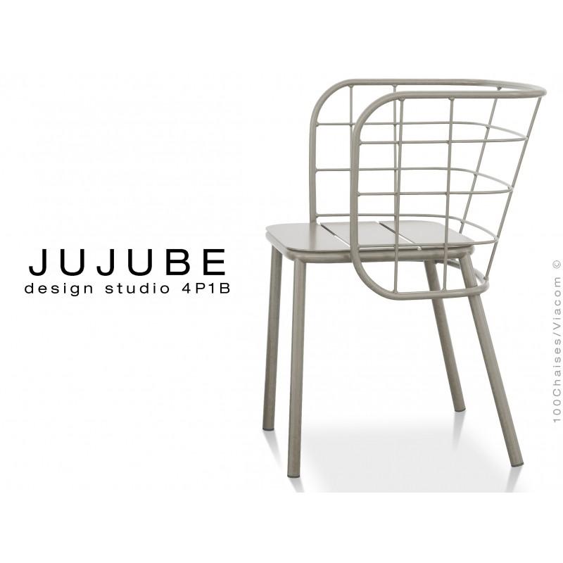 JUJUBE chaise design structure acier peinture grise, pour extérieur