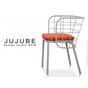 JUJUBE chaise design structure acier peinture grise, avec coussin d'assise couleur rouge pour intérieur.