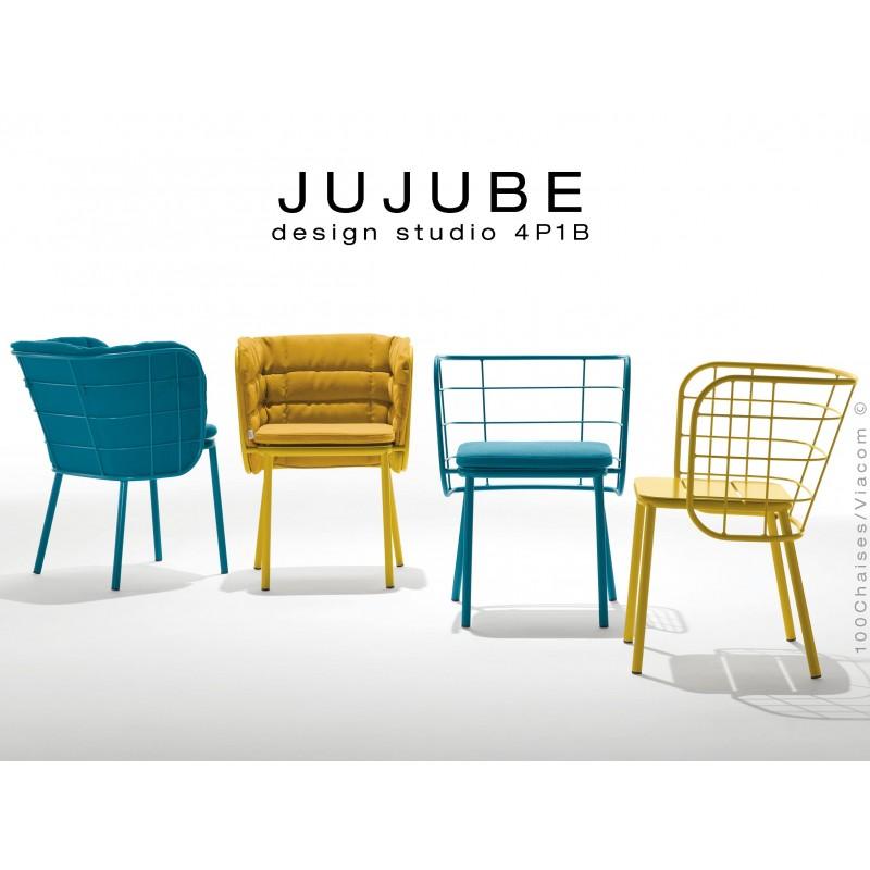 JUJUBE Chaise Design Structure Acier Peint Avec Coussin Dassise Pour Interieur