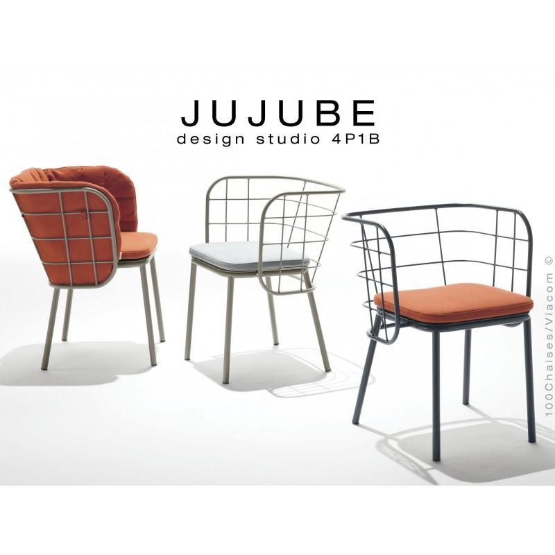 Collection JUJUBE Chaise Design Structure Acier Peint Avec Coussin Dassise Et Capitonnage Du