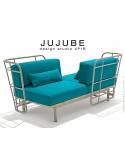 Canapé deux places JUJUBE structure acier peinture grise, avec coussin d'assise couleur Bleu-38 pour intérieur.