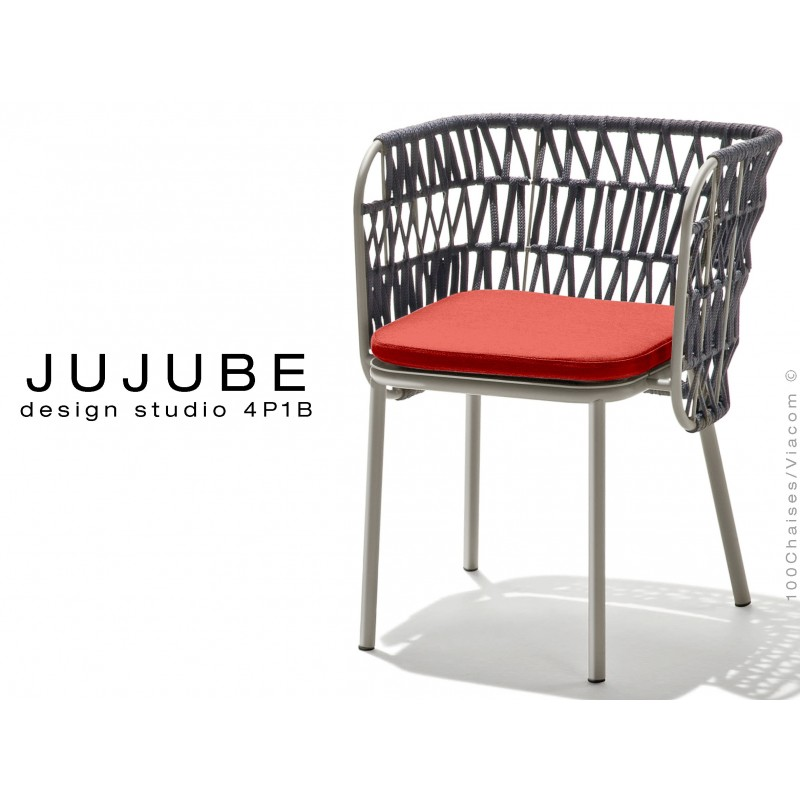 JUJUBE chaise design structure acier peint gris, avec coussin d'assise rouge et dossier tressé pour intérieur