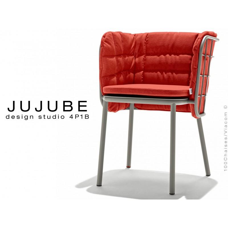 JUJUBE chaise design structure acier peint gris, avec coussin et dossier capitonné rouge pour intérieur