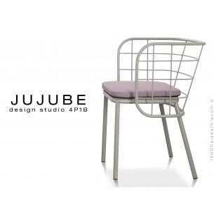 JUJUBE chaise design structure acier peint gris, avec coussin d'assise couleur Glycine pour extérieur.
