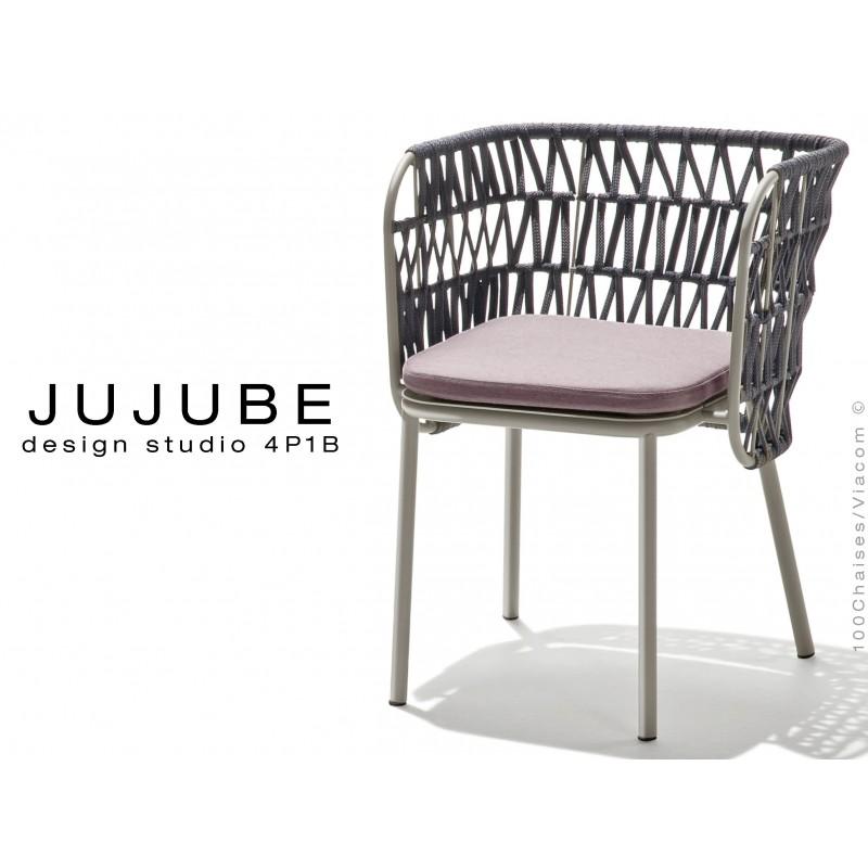 JUJUBE chaise design structure acier peint gris, avec coussin d'assise couleur Glycine et dossier tressé pour extérieur