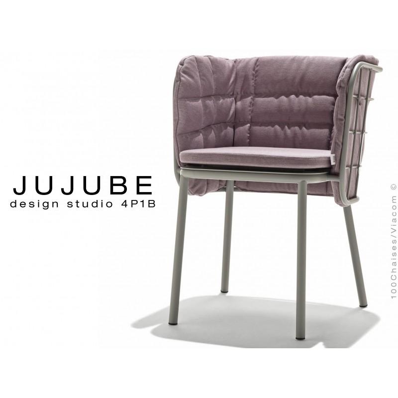 JUJUBE chaise design structure acier peint couleur gris, coussin et dossier capitonné couleur Glycine pour extérieur