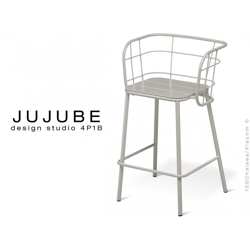 JUJUBE tabouret design structure acier peint gris pour extérieur