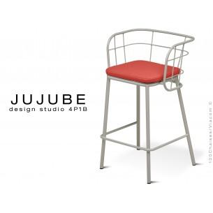 JUJUBE tabouret design structure acier peint gris clair, avec coussin d'assise rouge pour intérieur