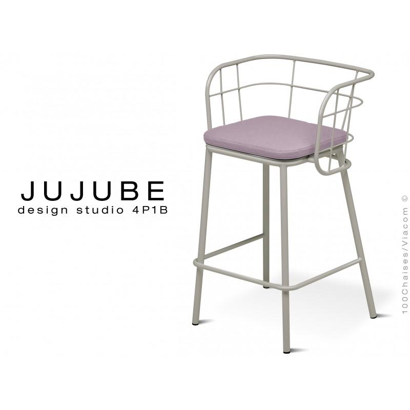 JUJUBE tabouret design structure acier peint gris clair, avec coussin d'assise couleur Glycine pour extérieur