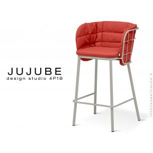 JUJUBE tabouret design structure acier peint gris, avec coussin et dossier capitonné d'assise couleur rouge pour intérieur