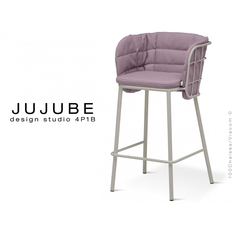 JUJUBE tabouret design structure acier peint gris, avec coussin et dossier capitonné couleur Glycine pour extérieur